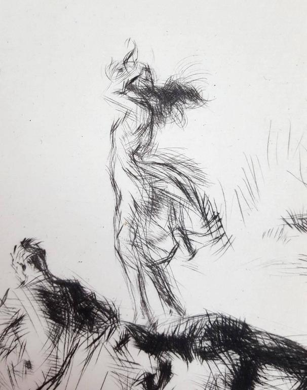 An original signed drypoint etching on laid paper by English artist Edmund Blampied (1886-1966) titled