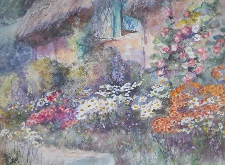 Cottage Garden - Gray Landscape Art by Leyton Forbes