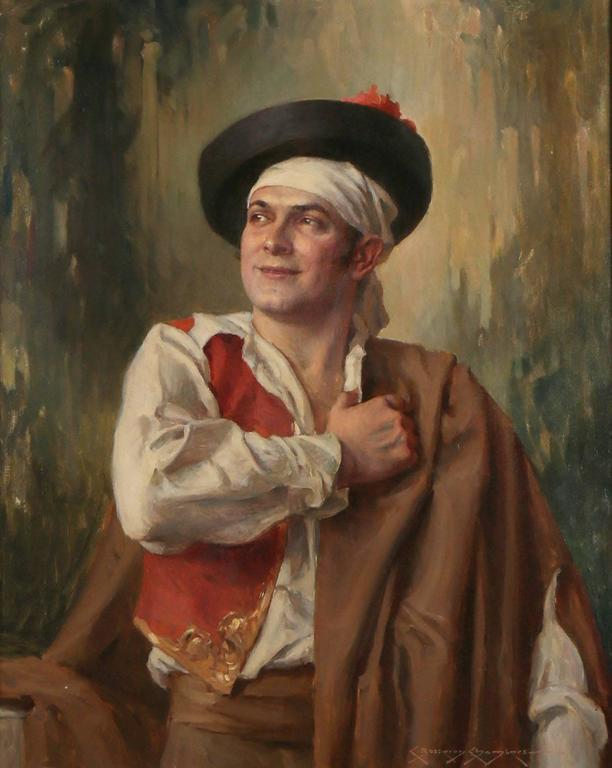 Portrait of Escamillo from Bizet's Opera Carmen - American Impressionist Painting by Charles Bosseron Chambers
