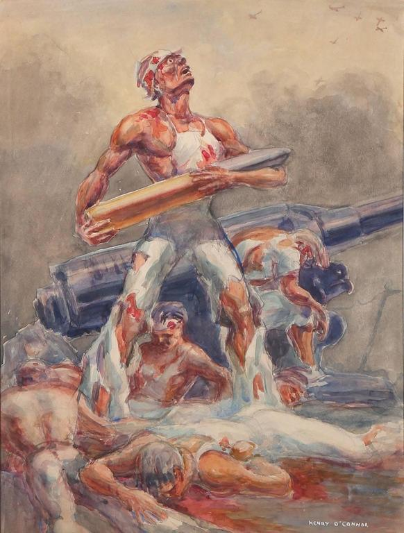 WWII Ashcan School Battle Scene - Painting by Henry O'Connor