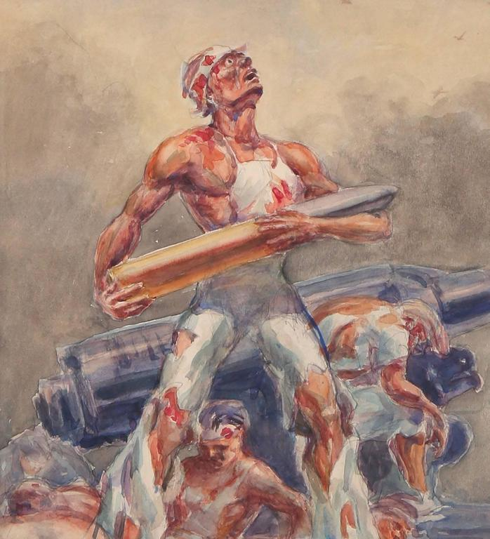 WWII Ashcan School Battle Scene - Brown Figurative Painting by Henry O'Connor