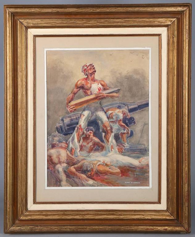 Henry O'Connor Figurative Painting - WWII Ashcan School Battle Scene