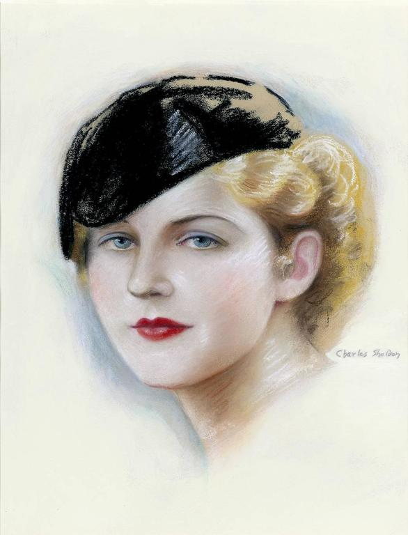 Portrait of Norma Shearer - American Realist Painting by Charles Sheldon