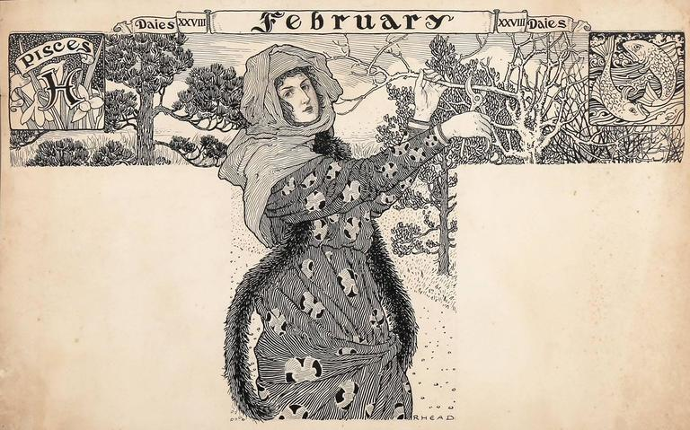Art Nouveau Maiden in February - Beige Figurative Art by Louis Rhead