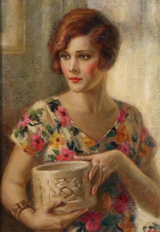Demure Flapper Girl in Flowered Dress - Brown Portrait Painting by Edna Crompton