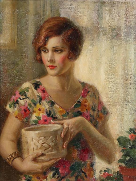 Demure Flapper Girl in Flowered Dress - Art Deco Painting by Edna Crompton