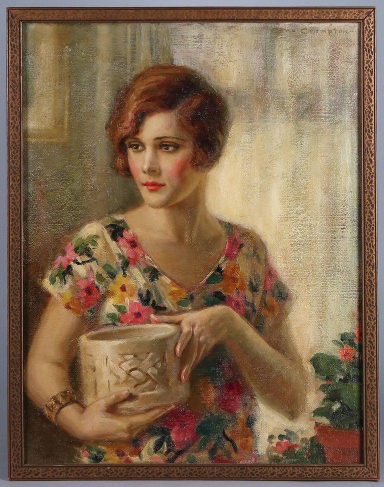 Edna Crompton Portrait Painting - Demure Flapper Girl in Flowered Dress