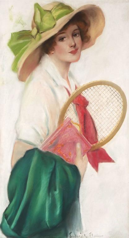 Breezy Co-Ed with Tennis Racket - Victorian Painting by Frederick Duncan