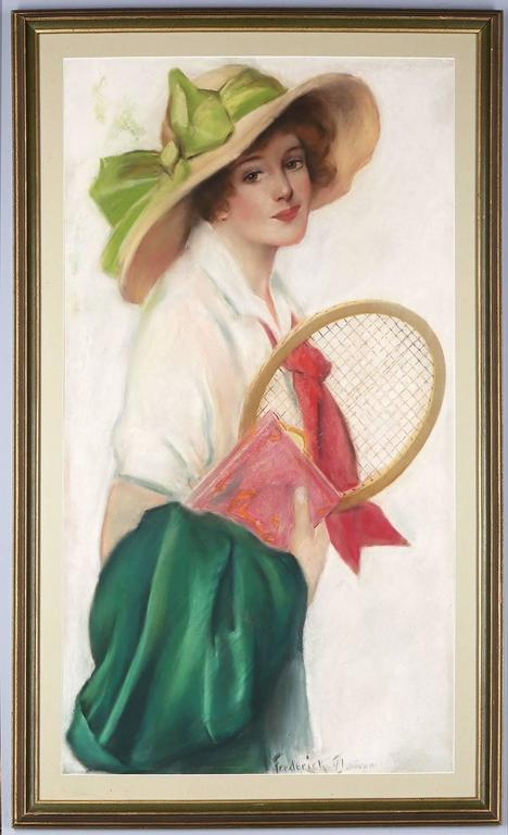 Frederick Duncan Portrait Painting - Breezy Co-Ed with Tennis Racket