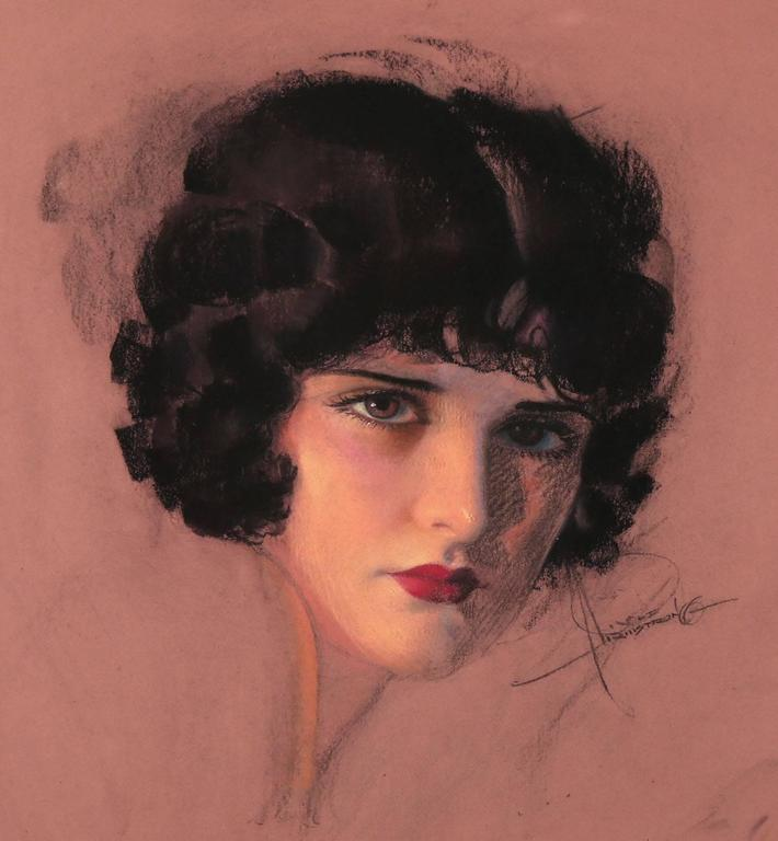 This alluring jazz age portrait by Rolf Armstrong of silent film star Evelyn Brent was commissioned as original artwork for the cover of the March 1930 issue of Screenland magazine. Armstrong executed a series of covers for this title between 1929 -