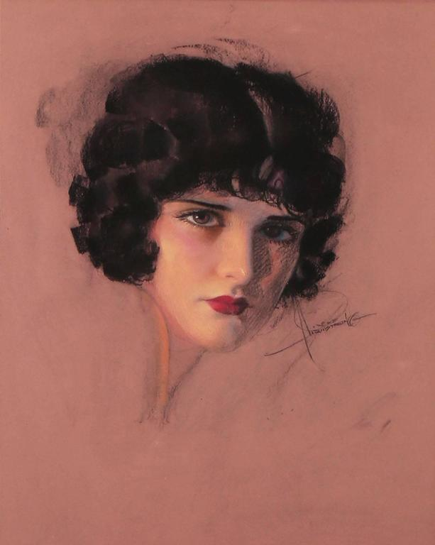 Portrait of Evelyn Brent - Art Deco Painting by Rolf Armstrong