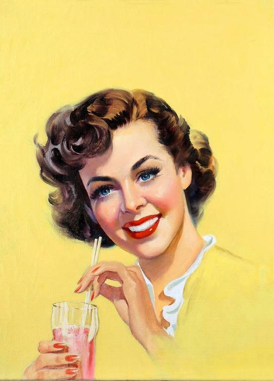 Howard Connelly Portrait Painting - Thrilling Love Soda Girl