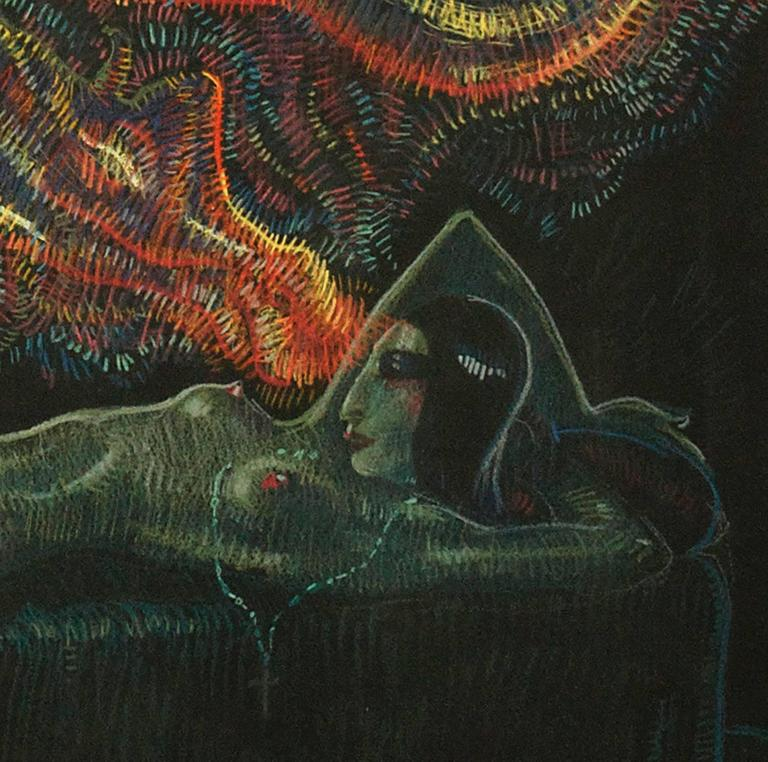 This is a fascinating and electric in coloring and technique pastel and conté crayon large format erotic artwork by the well listed illustrator and fine artist Mahlon Blaine. The darkly seemingly ritualistic scene showcases a sleeping nude goddess