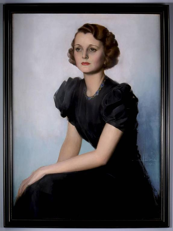 Mary Astor Hollywood Portrait - Gray Portrait Painting by Rolf Armstrong