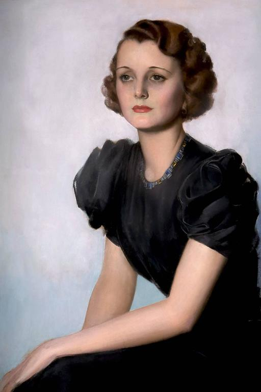 Mary Astor Hollywood Portrait - American Realist Painting by Rolf Armstrong