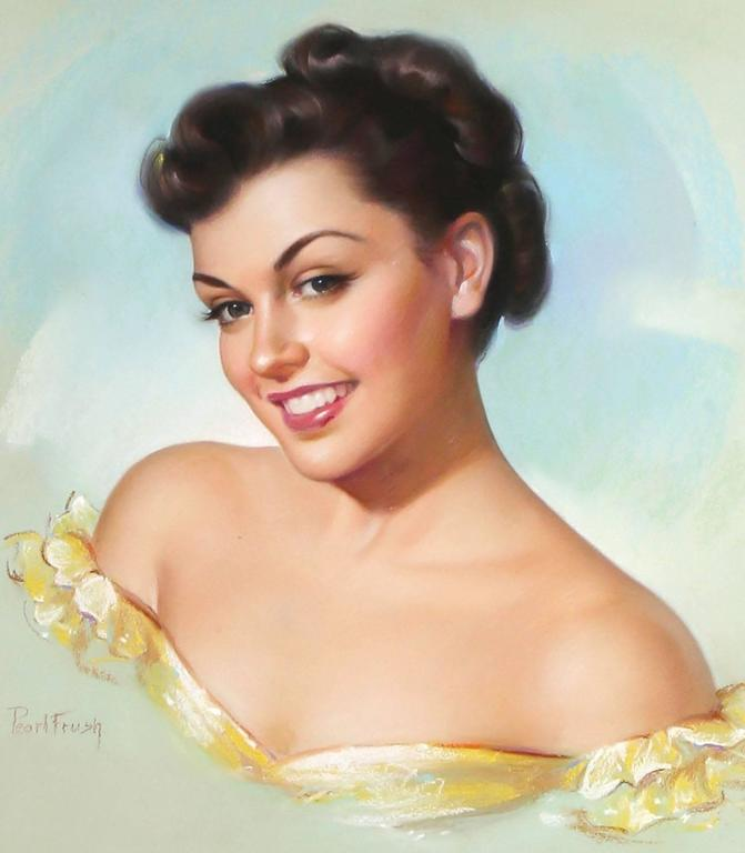 Eyes That Invite, is a colorful and classic 1950 original glamour girl pin up pastel by Pearl Frush, published by the Gerlach-Barklow Calendar Company of Joliet, Illinois.  Pearl Frush was one the twentieth century's leading female pin up