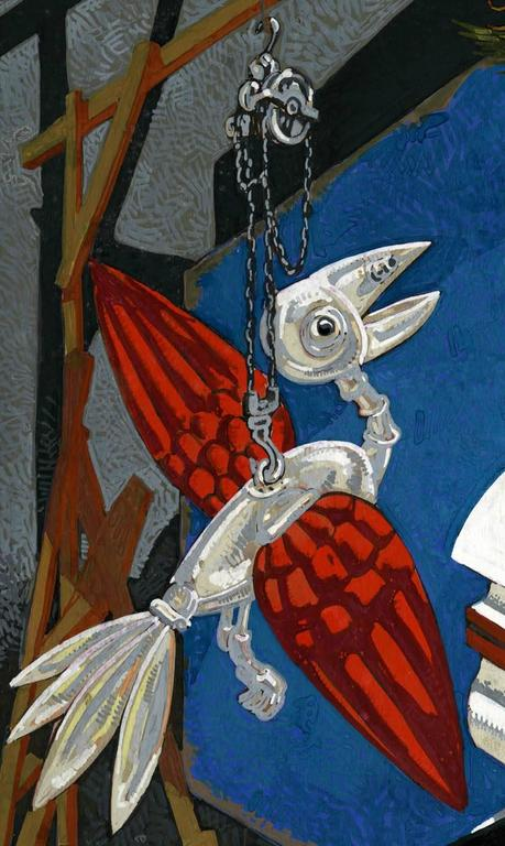 Mechanical Bird and Nude - Black Figurative Painting by Mahlon Blaine
