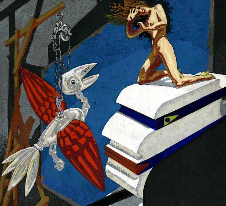 Mechanical Bird and Nude - Art Deco Painting by Mahlon Blaine