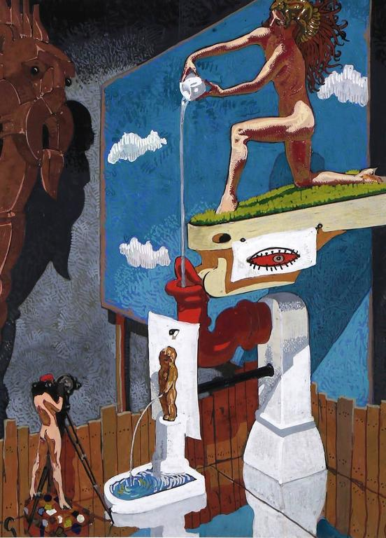 The third proposed mural painting by Mahlon Blaine for a New York City interior showroom for industrial designer Paul Ritter MacAlister, created in 1939 by Blaine using the pseudonym G. Christopher Hudson. In this original gouache painting a nude
