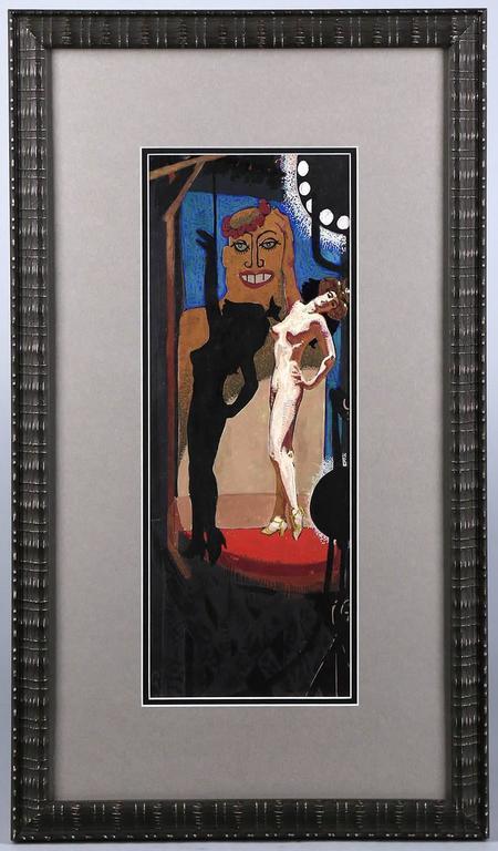 The Sad Burlesque - Black Figurative Painting by Mahlon Blaine