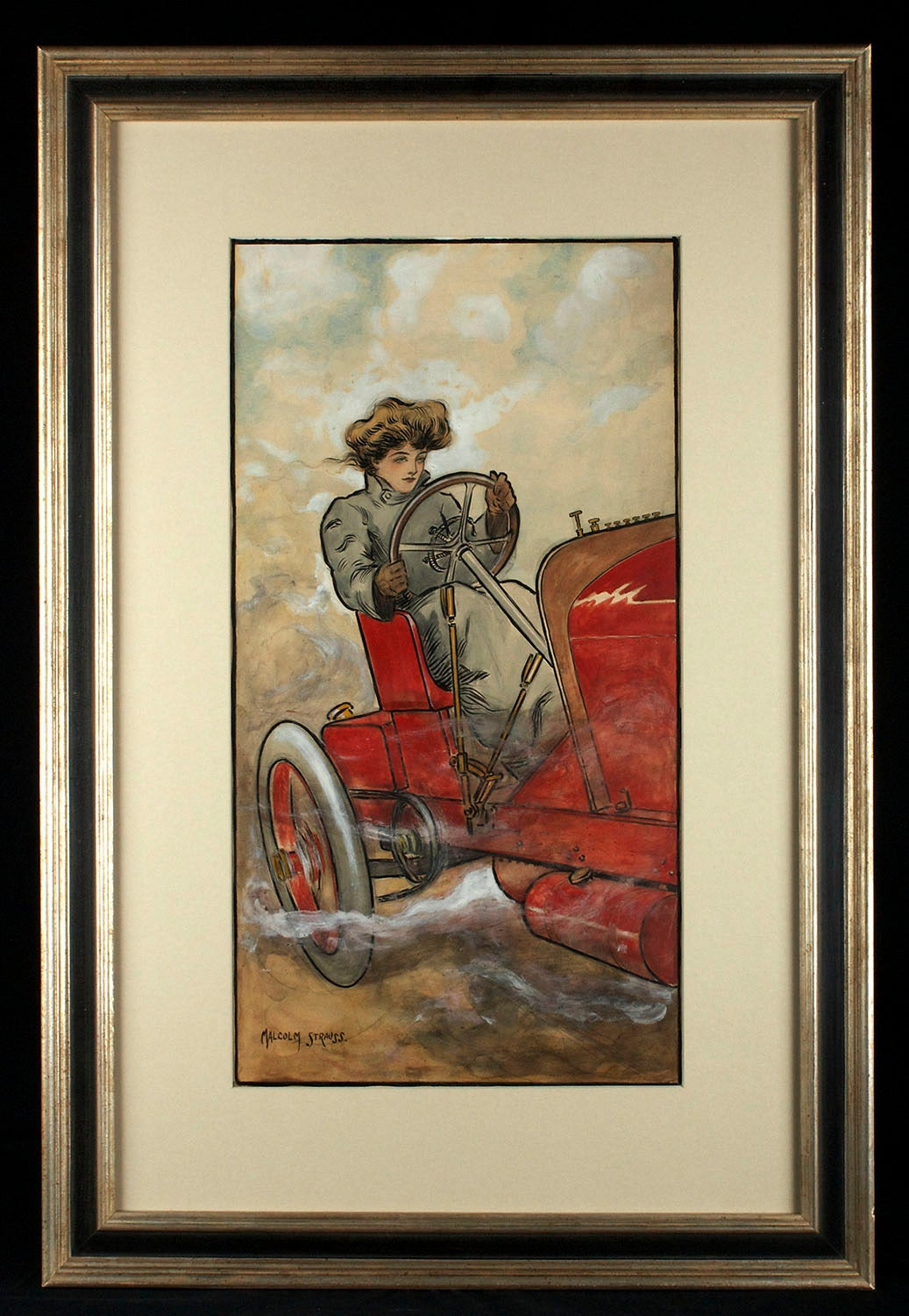Edwardian Beauty of The Motor Age - Painting by Malcolm Strauss