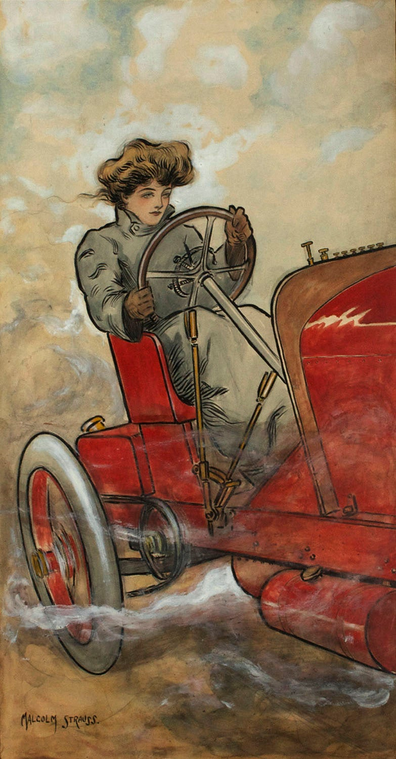 Malcolm Strauss Figurative Painting - Edwardian Beauty of The Motor Age