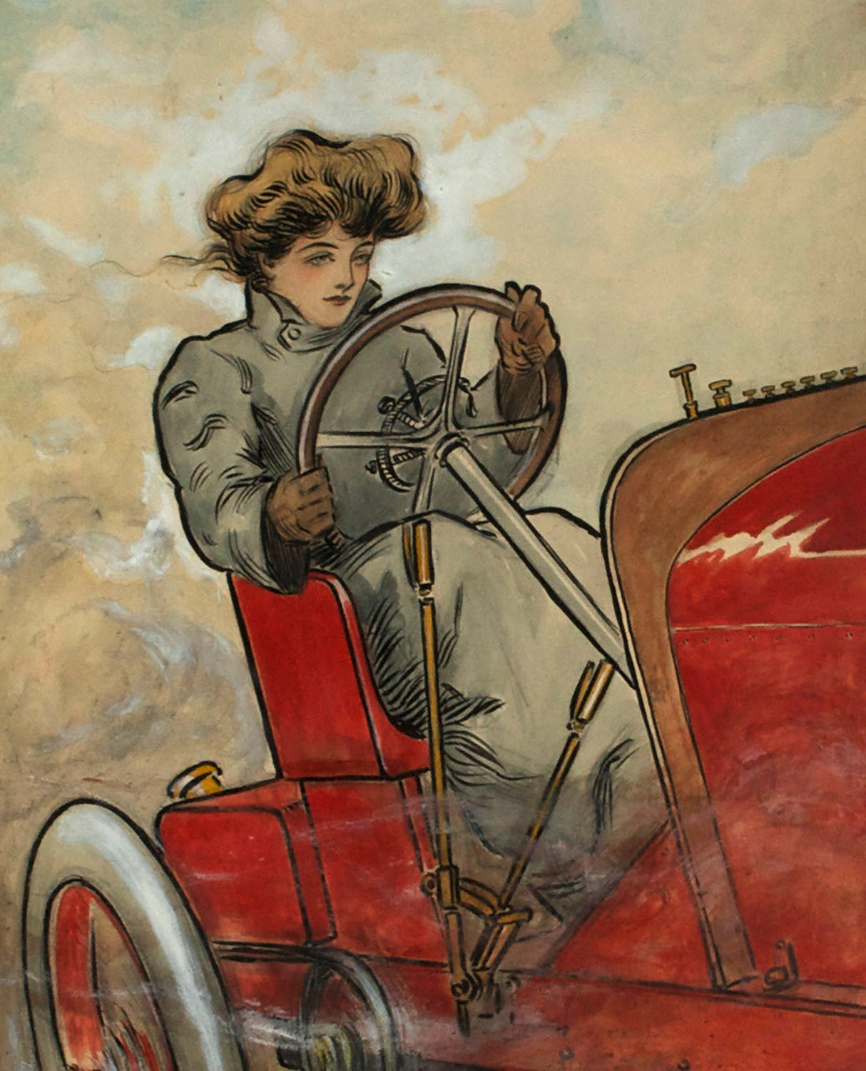 Edwardian Beauty of The Motor Age - Brown Figurative Painting by Malcolm Strauss