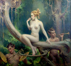 Nude Forest Nymph Visited By Satyrs