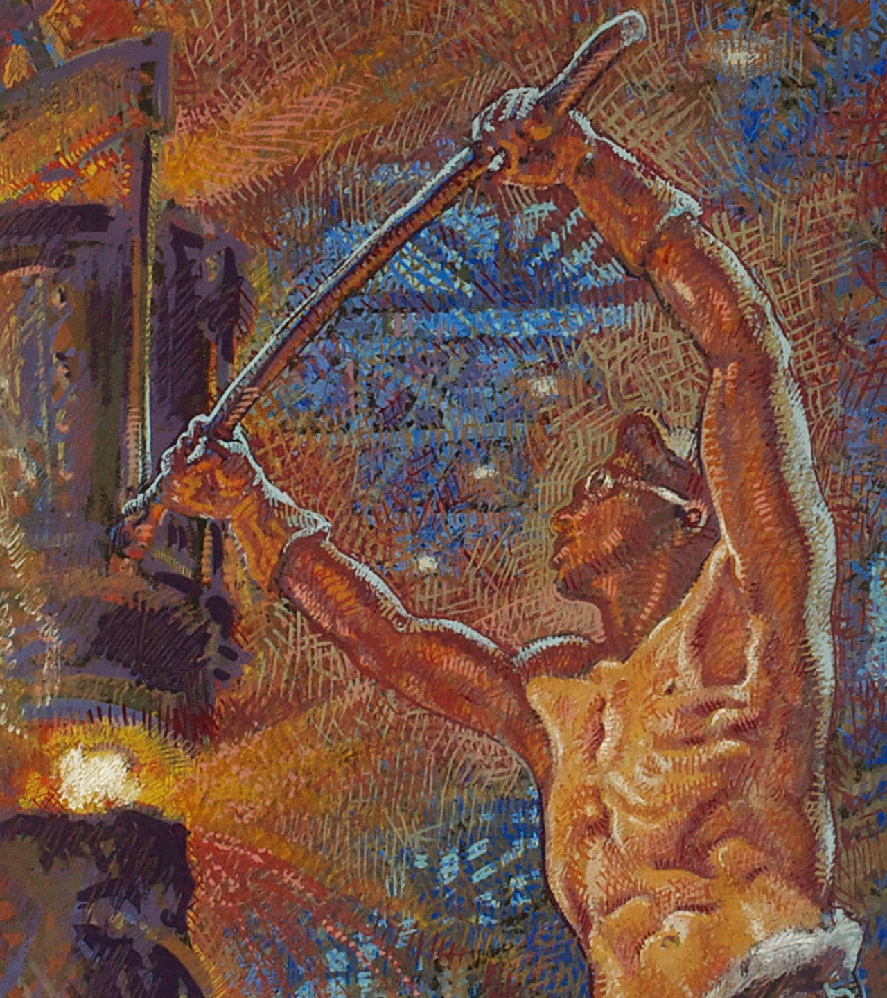 This progress-through-industry themed gouache painting by Mahlon Blaine is signed and dated 1955. The image dramatizes the industrial era with a shirtless industrial worker forging steel in a machine age apocalyptic scene that blends a mid-century