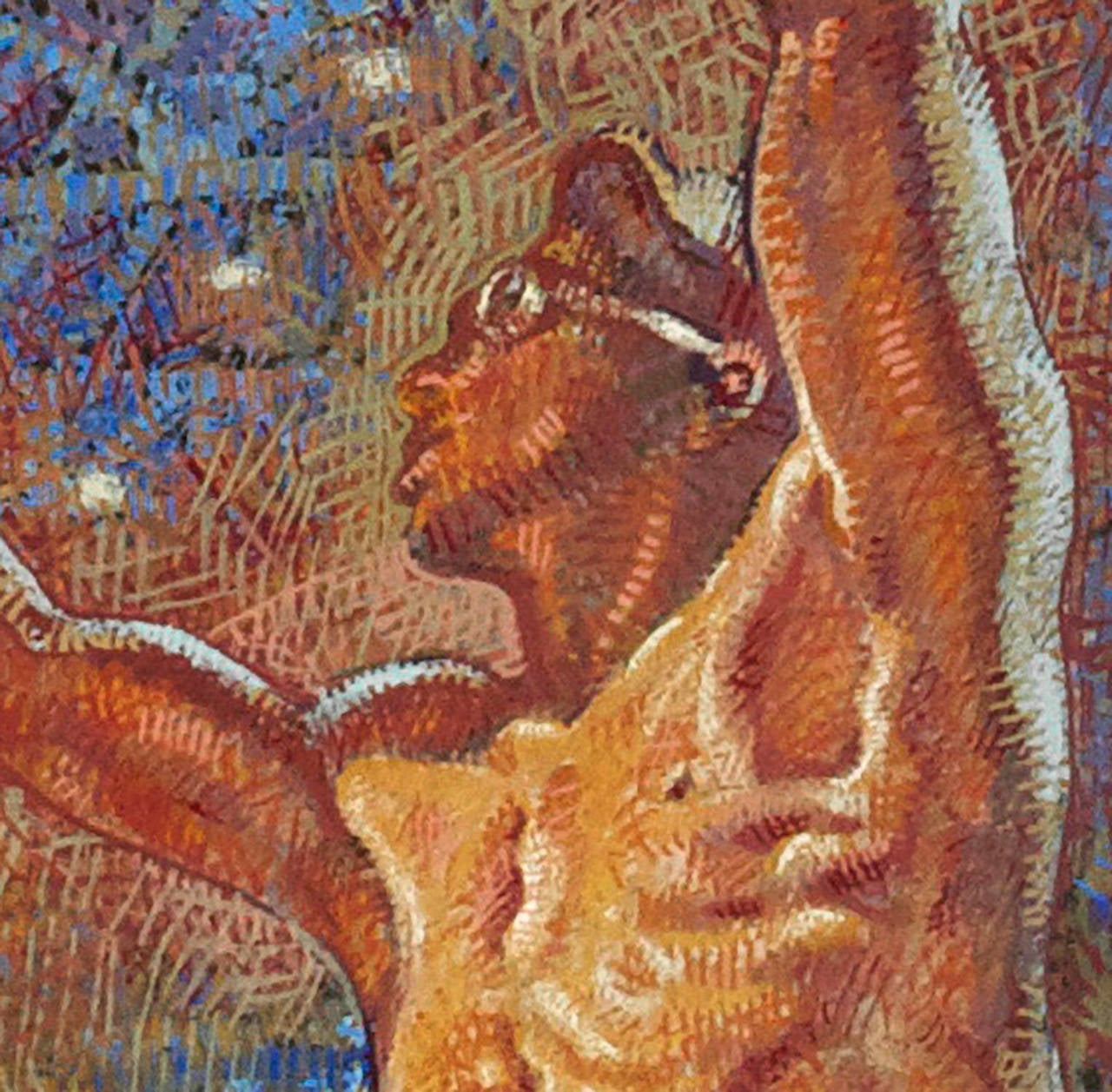 Forging Ahead - Brown Figurative Painting by Mahlon Blaine