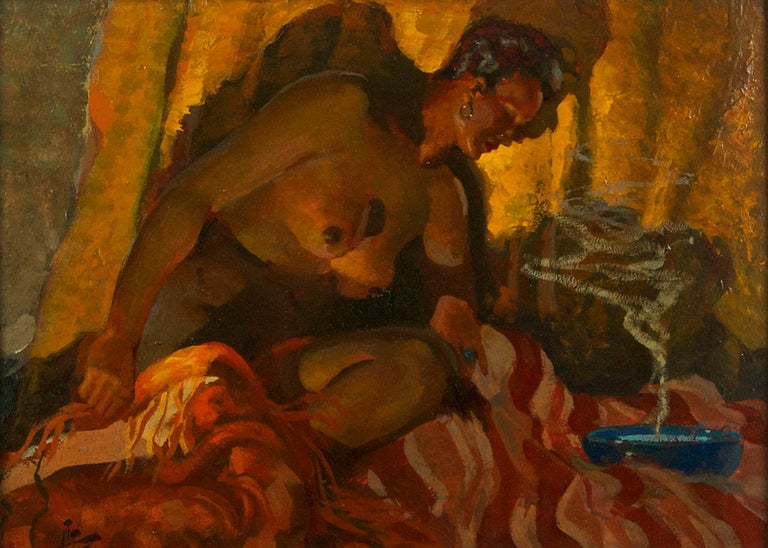 Harry T. Fisk Figurative Painting - Nude Contemplation