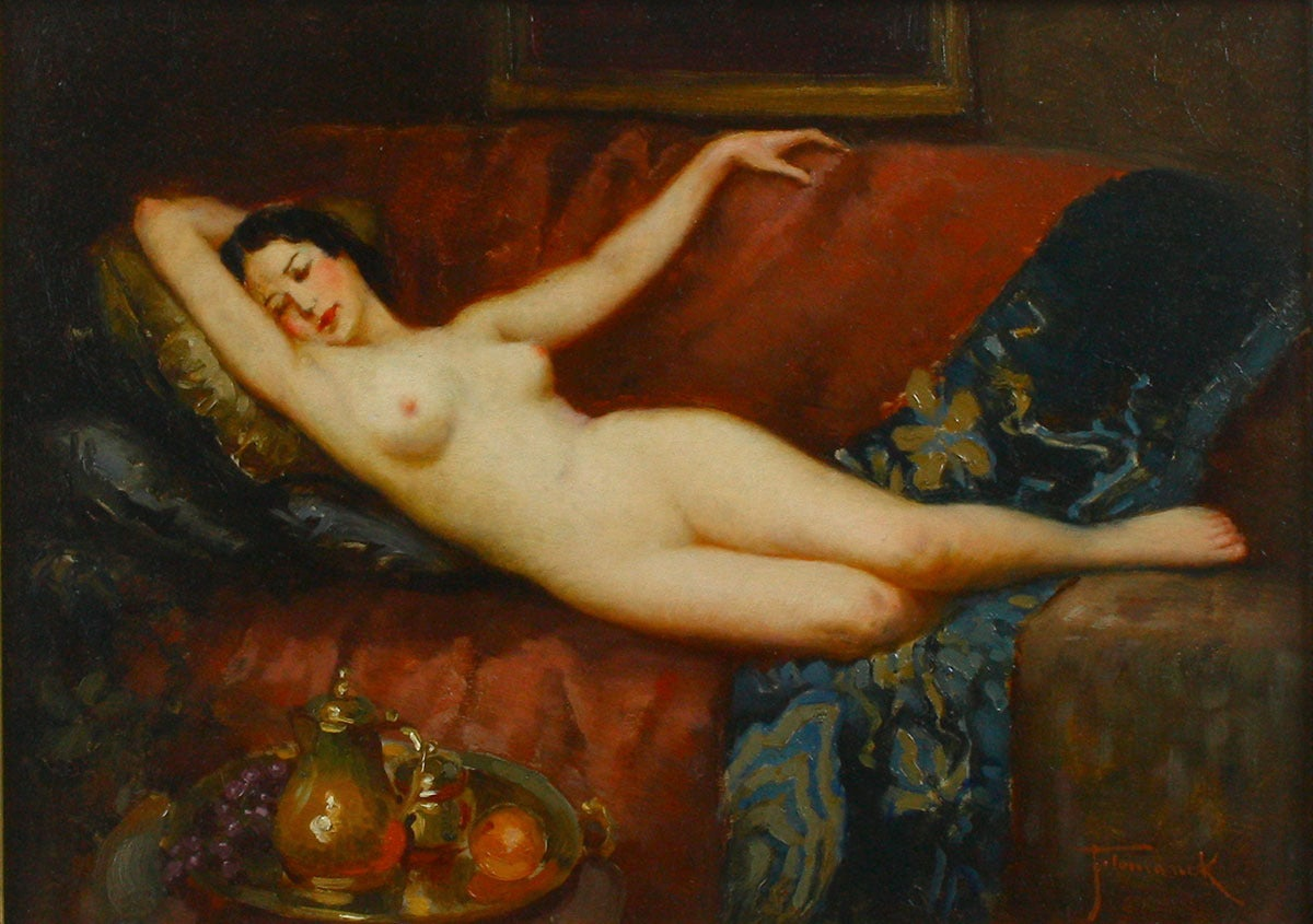 Joseph Tomanek Nude Painting - The Studio Couch