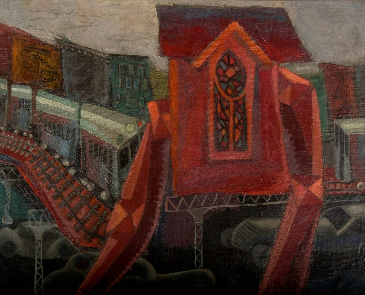 A train platform rises above assembled automobiles parked below a bridge, in this transportation minded New York City urban cityscape, atop an almost surrealist cathedral at night rises into the night. Captured with oils on canvas in a dark haunting