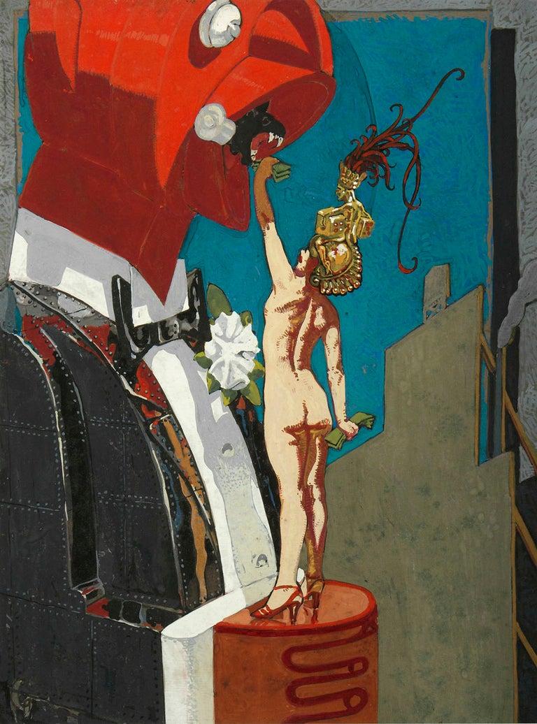 Mahlon Blaine Abstract Painting - Feeding the Man