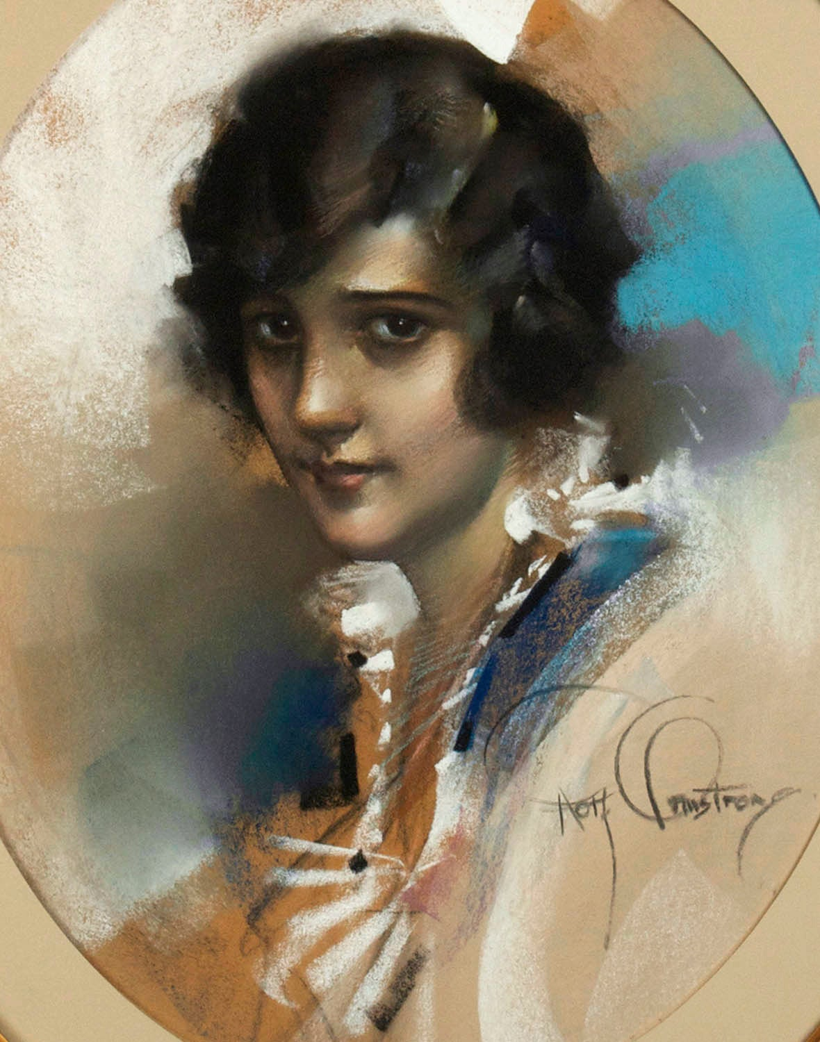 A Brown Eyed Girl - Art Nouveau Art by Rolf Armstrong