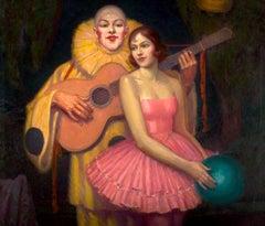 Pierrot and Ballerina Art Deco Interior Scene