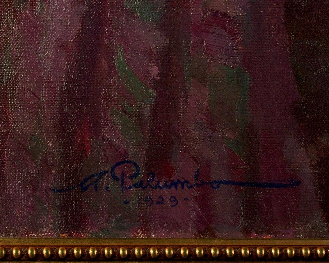 Pierrot and Ballerina Art Deco Interior Scene - Black Figurative Painting by Alphonse Palumbo