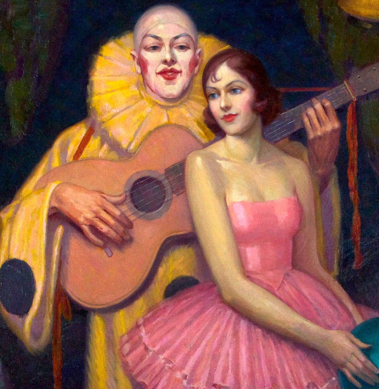 This is a suggestively subtle 1929 oil on canvas painting featuring a pierrot and ballerina in a quiet 'behind the curtain' circus moment. This large scale stylized art deco work is mournful and gay all at once, evoking all of the tensions of jazz