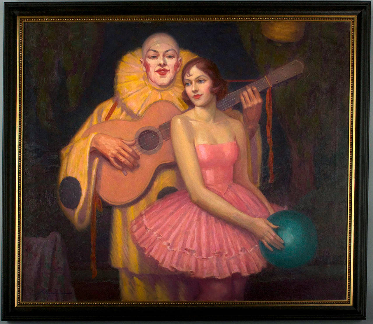 Pierrot and Ballerina Art Deco Interior Scene - Painting by Alphonse Palumbo