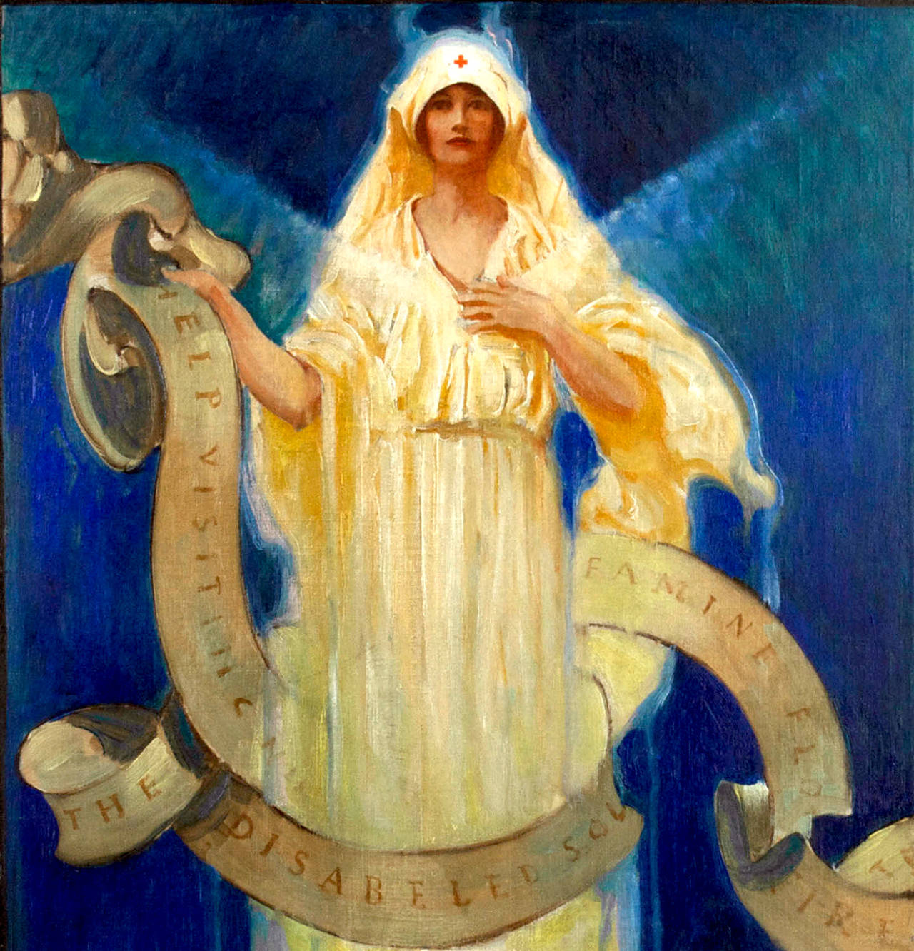 Red Cross Roll Call - Art Nouveau Painting by Unknown