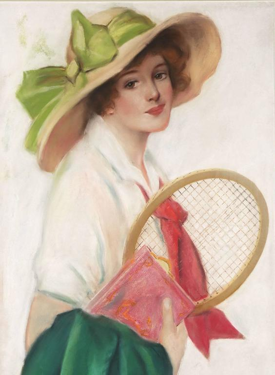 Breezy Co-Ed with Tennis Racket - Beige Portrait Painting by Frederick Duncan