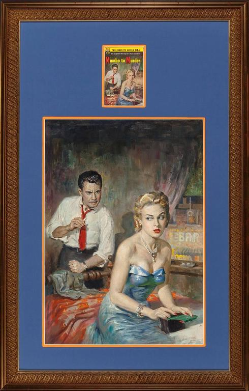 This oil on illustration board painting by Harry Barton was created as cover art for the 1955 paperback Mambo To Murder, one half of the double sided Ace Double Novel D-109.  Private eye Joe Moran, who had his license revoked for extracting