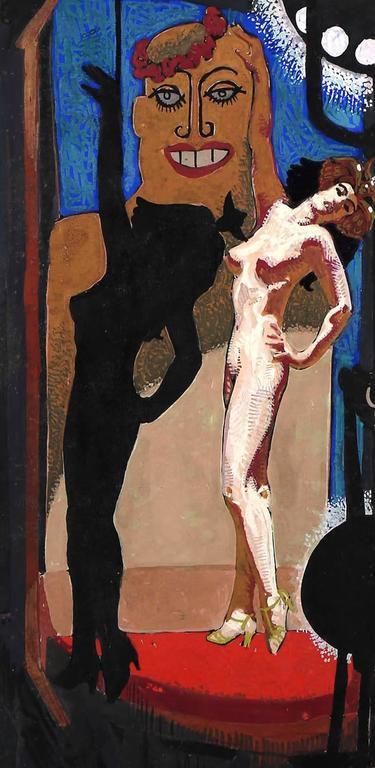 The Sad Burlesque - American Realist Painting by Mahlon Blaine