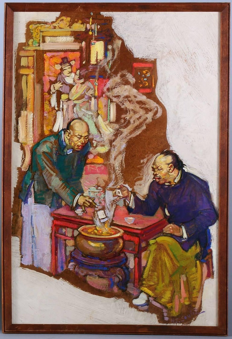 "This original 1920s oil on board painting by Henry Soulen is a commissioned interior illustration for The Saturday Evening Post. The image shows two figures engaged in what appears to be a traditional ""ghost money"" ceremony, a Taoist"