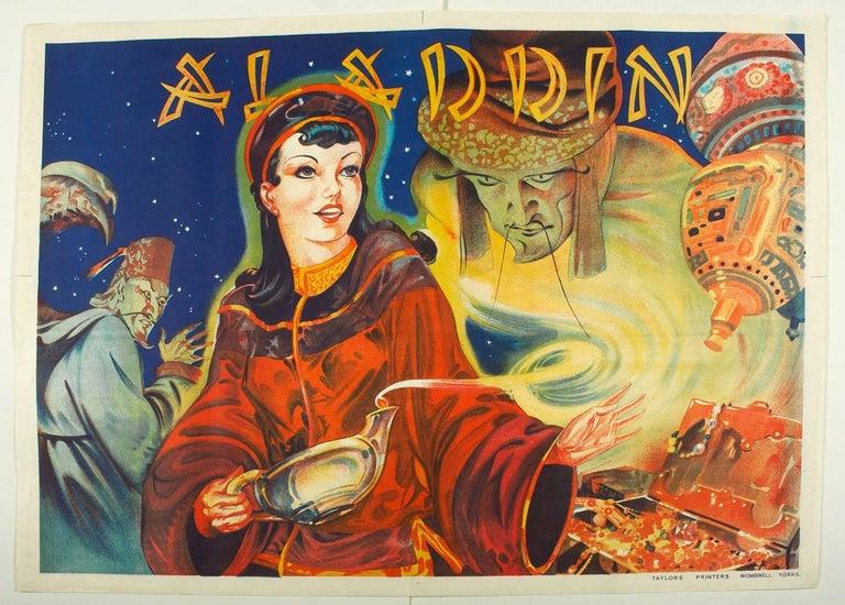 Aladdin Orientalist Art Deco Theatrical Stone Lithograph Poster