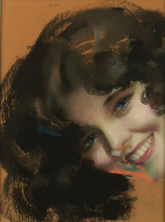 Rolf Armstrong Portrait Painting - A Blue Eyed Beauty