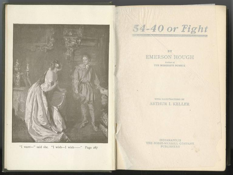 A richly layered painting by the renowned early 20th century American illustrator Arthur Ignatius Keller depicting the climactic romantic scene from Emerson Hough's bestselling 1909 novel 54-40 or Fight.