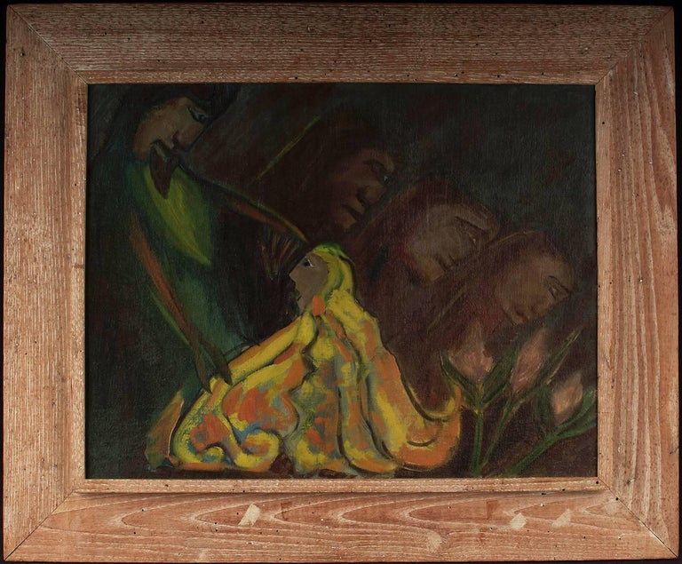 Eliot Fitch Bartlett Abstract Painting - Kneeling Figure in Yellow