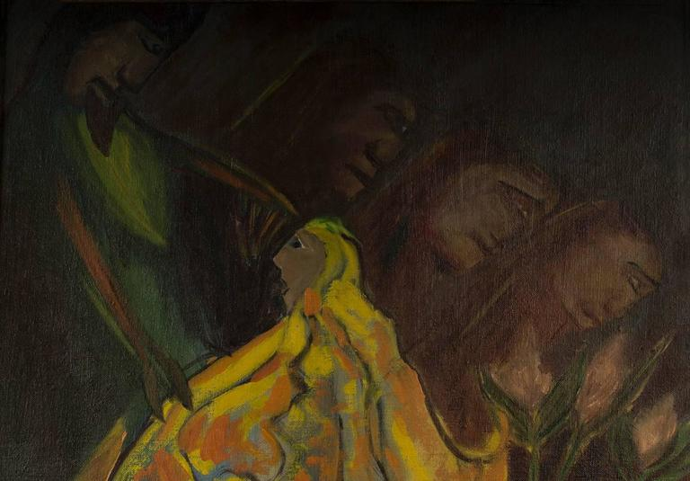 Kneeling Figure in Yellow - Painting by Eliot Fitch Bartlett