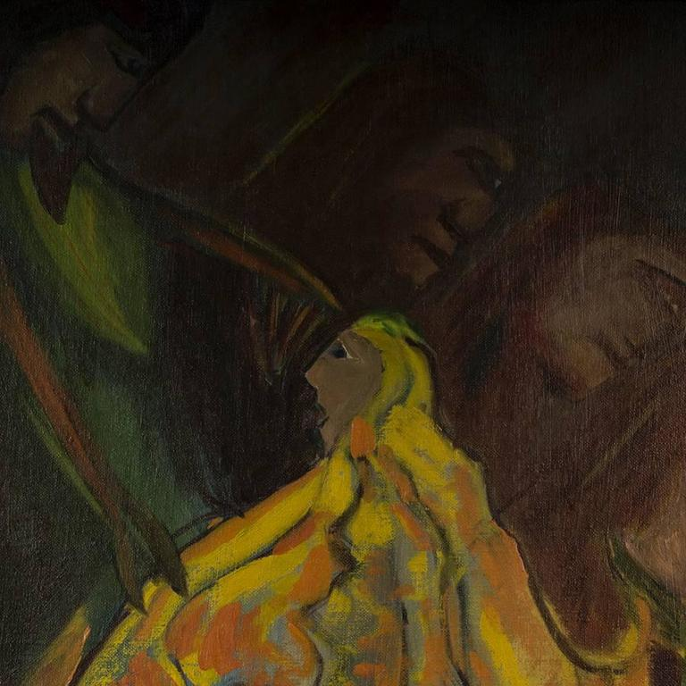 Kneeling Figure in Yellow - Expressionist Painting by Eliot Fitch Bartlett